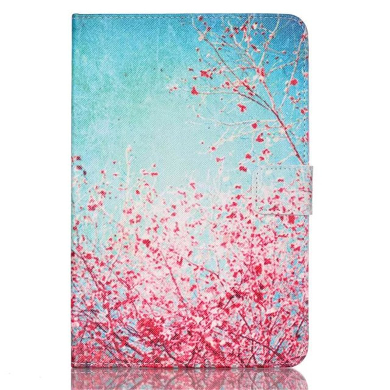 For Samsung Galaxy Tab A 8.0 T350 T351 SM-T355 Case Cover 8 Inch Tablet Flower Paint PU Leather Stand Case