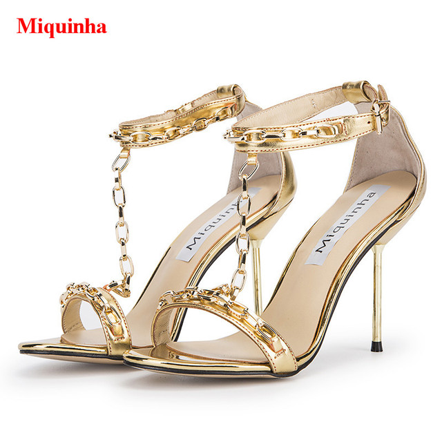 0a0f16720ff Gold Metallic Mirror Leather Chain Embellished T-Strap Women Sandals  Shallow Cutouts Metal High Heels Sexy Sandalias Shoes Woman