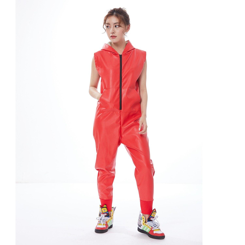 f53243c68c87c Heroprose Desgaste Performance de Palco Traje de Dança Hip Hop Harém  Macacão Streetwear Europeu Red PU