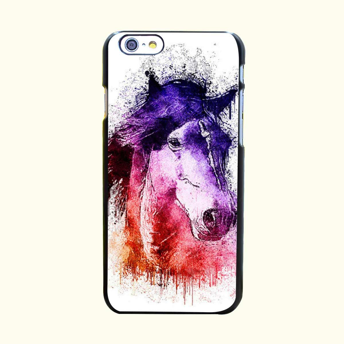 Watercolor Horse Hard Black Case Cover for iPhone 4 4s 5 5s 5c 6 6s Plus Print on Black Back