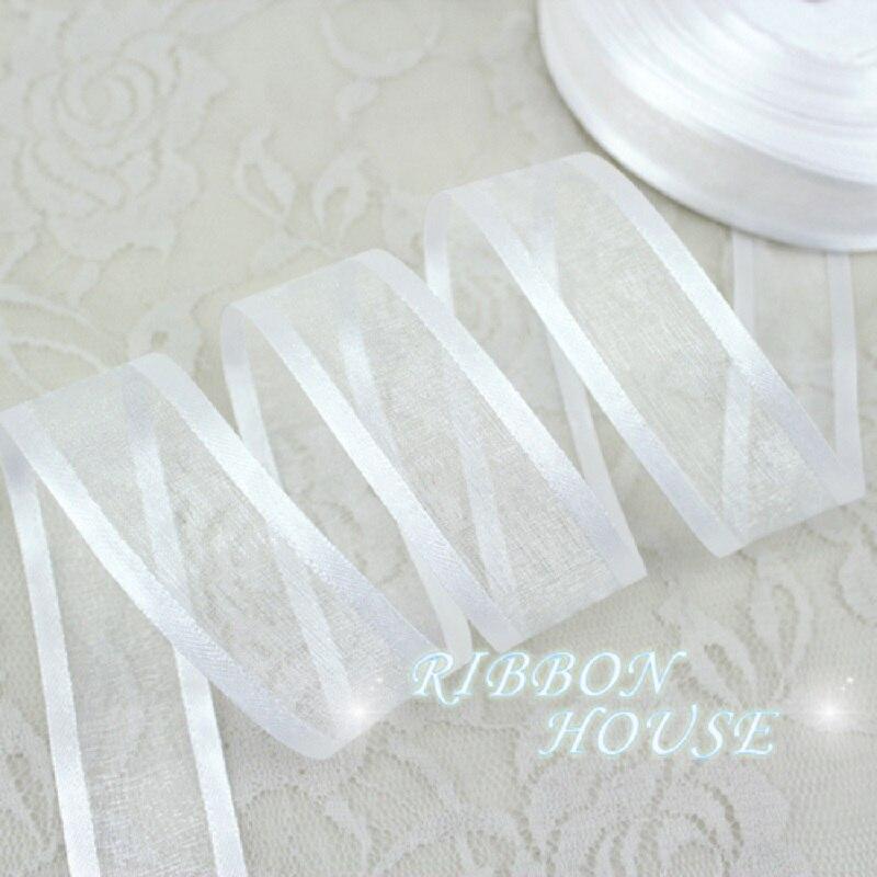25 мм белые широкие ленты из органзы оптовая продажа подарочная упаковка декоративные ленты