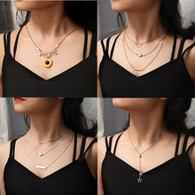 2019 New Multi layer Necklace Gold Pendant Simple Geometric Necklace For Women Collars Fashion Jewelry Bohemian collier femm(China)