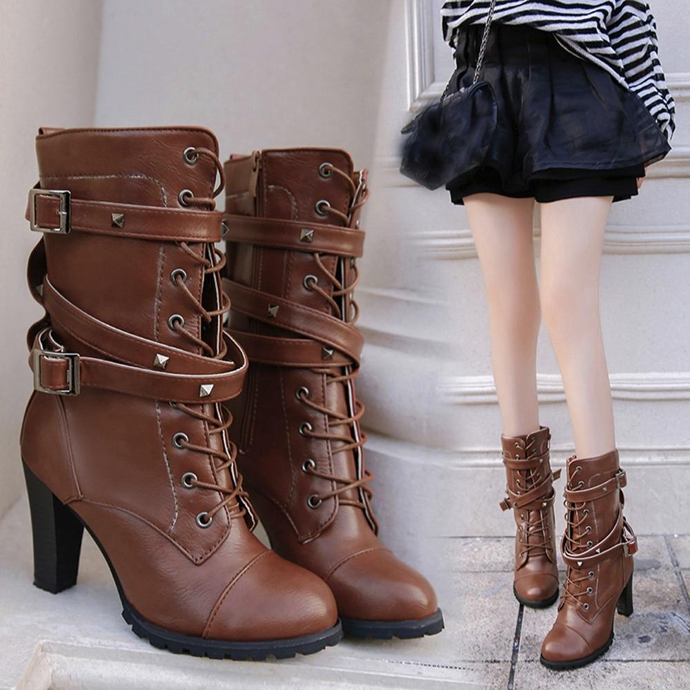shoes Boots Women Ladies Classics Rivet Belt High Heels Mid-Calf Boots Shoes Martin Motorcycle Zip boots women 2018Oct31 27