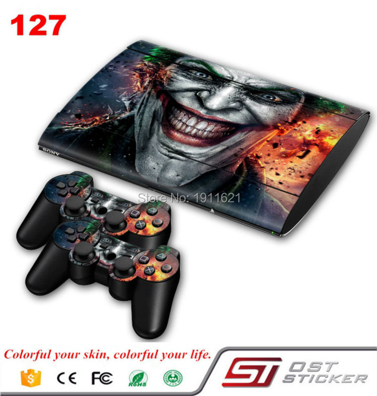 OSTSTICKER Bat Man skin sticker for ps3 super slim and 2 controller protective for Play Station 3 slim skin decal