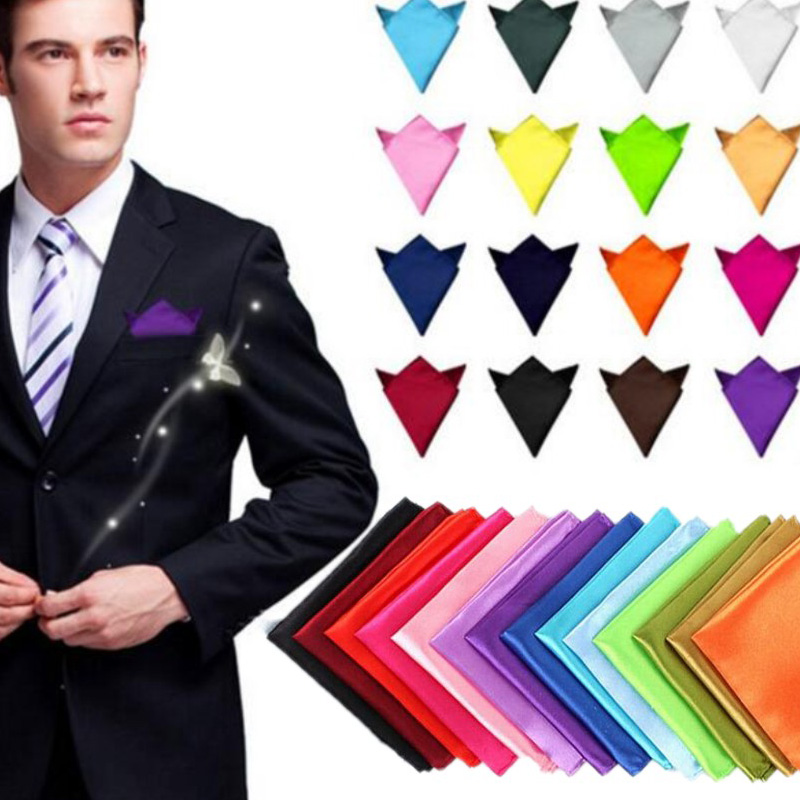 Factory Men's Polyester Silk Satin Handkerchief 36 Colors Solid Plain Pocket Square Hanky Wedding Party Christmas Chest Towel