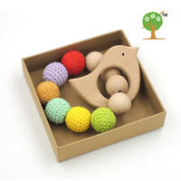 Drop shipping 2017 baby shower gift  Ecofriendly crochet beads 20mm good quality beech bird teether colorful baby toy ET40