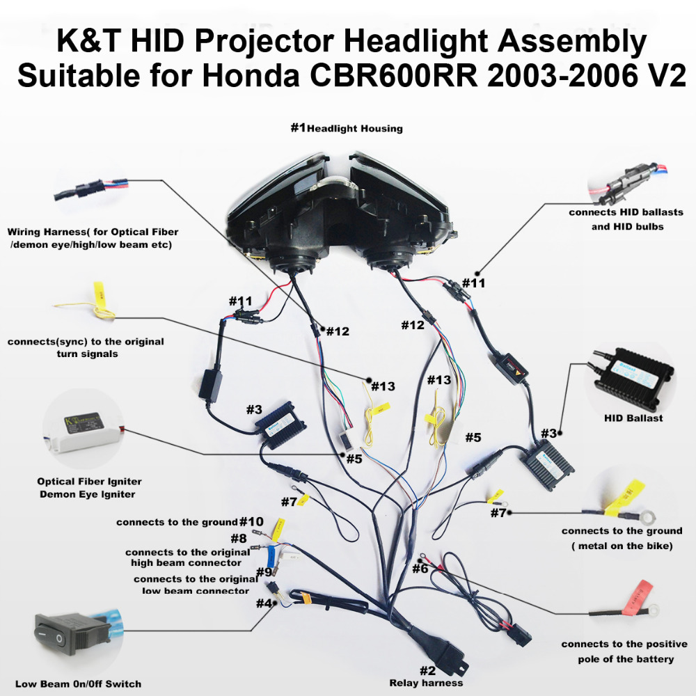 Kt Headlight For Honda Cbr600rr 2003 2006 Led Optical Fiber Blue Hid Wiring Harness Diagram Demon Eye Motorcycle Projector Assembly 2004 2005 On Alibaba Group