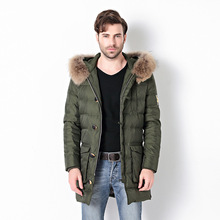 More long sleeve hooded fur collar men's leisure fashion single-breasted men's clothing