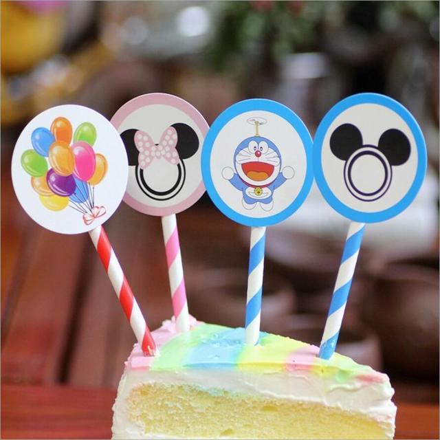 6pcslot MickeyMinnie Birthday Cake Toppers Kids Birthday Party