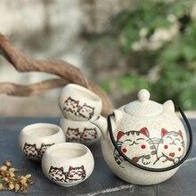 350 مللي اليابانية طقم شاي ، خمسة قطعة طقم شاي من السيراميك مع رسمت باليد محظوظ القط ، الأعمال هدايا تذكارية المنزل استخدام أطقم شاي