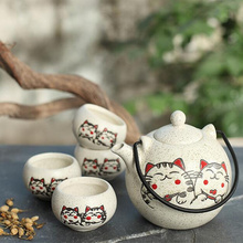 350ml Japanese tea set,  five piece ceramic tea set with hand painted lucky cat, business gifts Souvenir home use tea sets