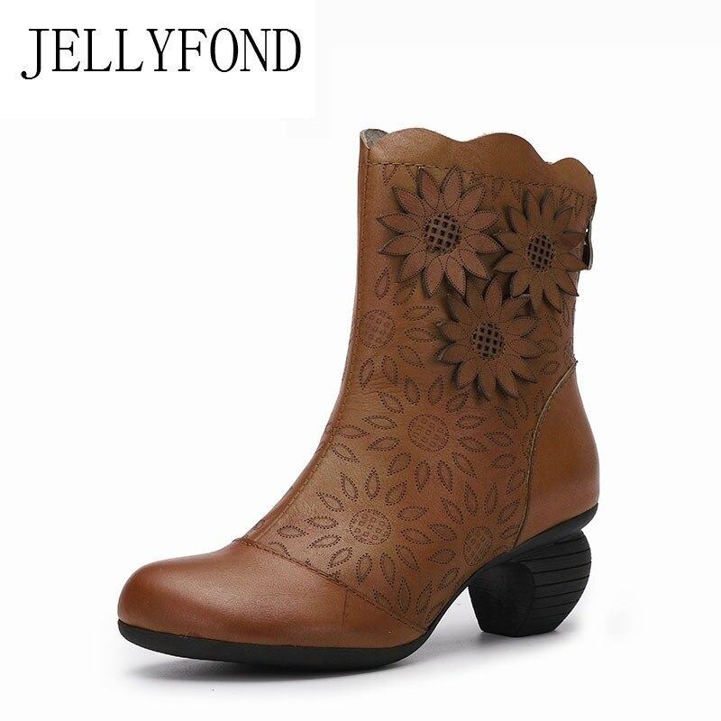 цена на JELLYFOND Women Genuine Leather High Heel Mid Calf Boots Platform Winter Boot Footwear Shoes Woman Handmade Floral Vintage Boots