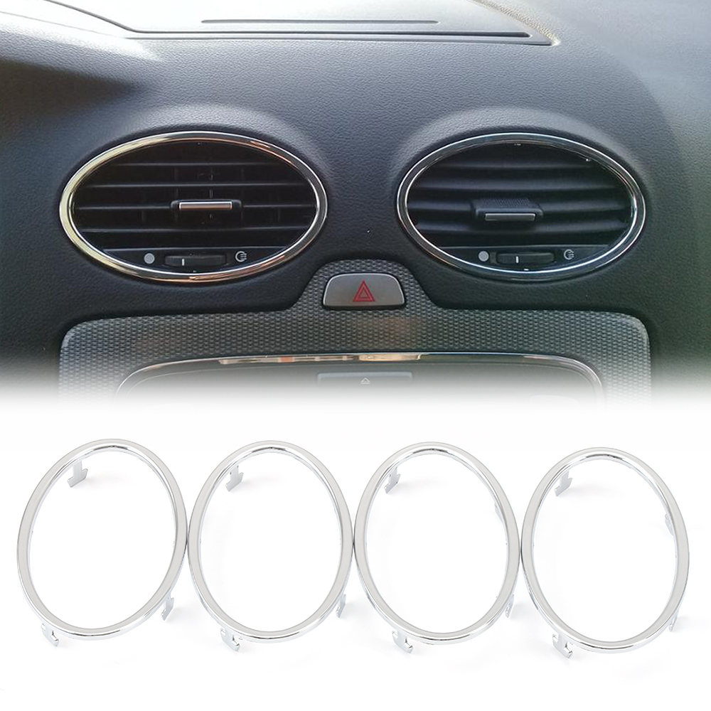 4pcs Car Accessories Air Conditioning Abs Chrome Trim Outlet Decoration For Ford Focus 2 Mk2