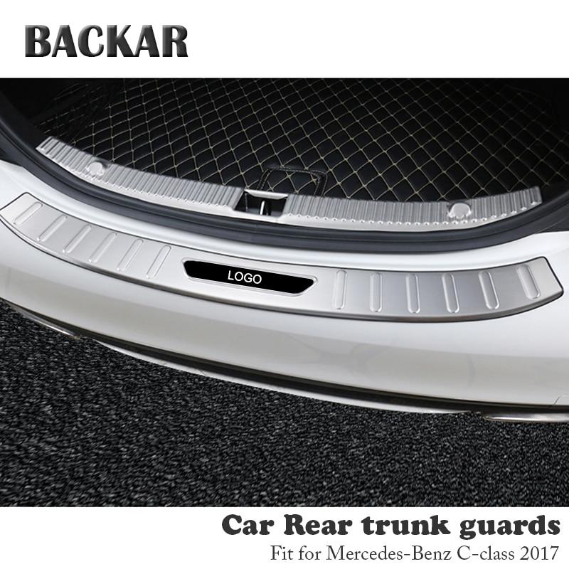 BACKAR 1pc Auto Car Rear Trunk Bumper Stickers For Mercedes W205 Benz C Class 2017 Accessories Trunk Door Trim Anti Collision