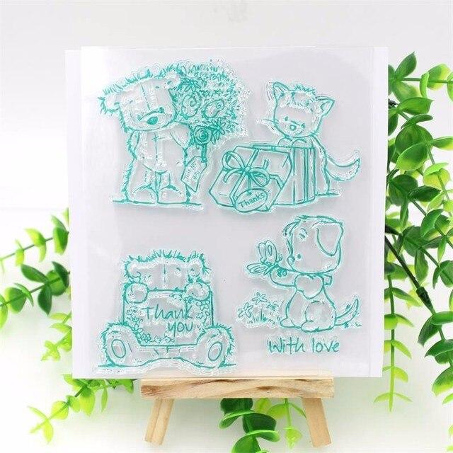 1 hoja DIY Osos Encantadores Diseño Sello De Silicona Transparente para DIY scrapbooking/álbum de fotos de arte Decorativo