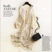 New Summer Beach Dress 100% Silk Women Blue Beige White dress Elegant Natural Fabric High Quality Hot Selling Free Shipping