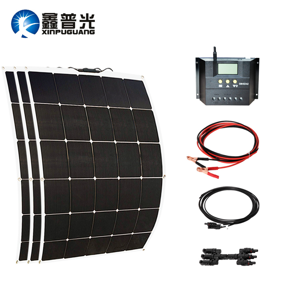 450w solar system 150w*3 flexible solar panel cell 40A controller cable MC4 connector PV module for 12v battery flexible solar panels 25w for boats with connection box 0 9m cable mc4 connector 12v