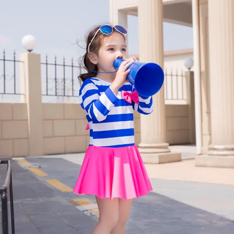 MANYIER дети купальный один кусок купальники девушки костюм морской ветер для малыша девочки купальный костюм два цвета пляжная одежда с бантом
