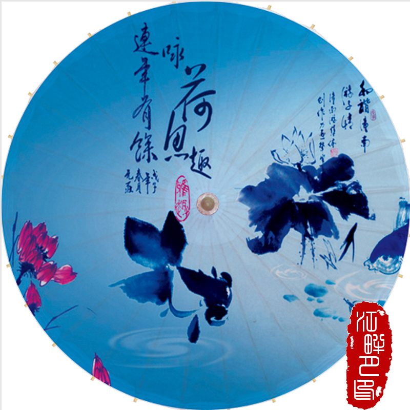 100 CM XXXL bleu blanc Lotus huile papier parapluie été fleur fleur papier Parasol décoration de mariage suspendus papier parapluie