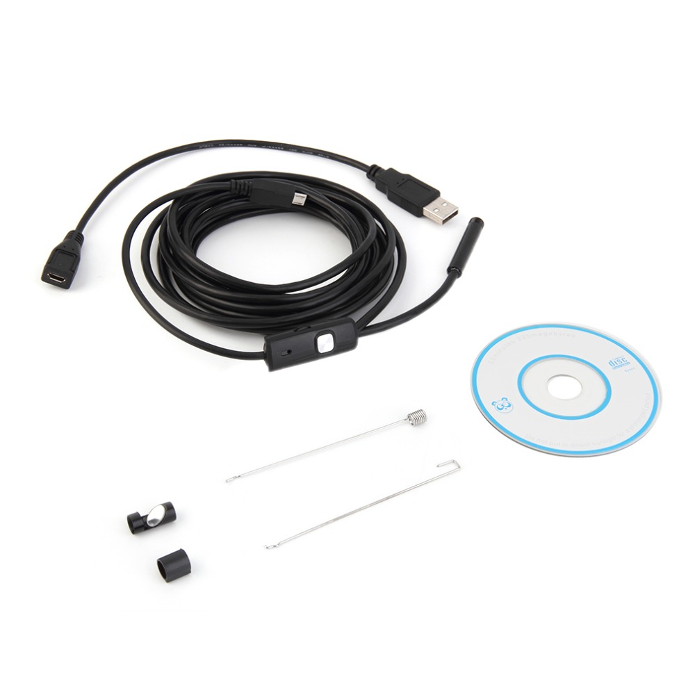 3.5m Waterproof Endoscope Mini HD Camera Snake Tube 7mm Lens Rigid Cable USB Inspection with LED Borescopefor Android Phone PC