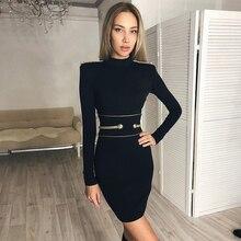 Newest Fashion Celebrity Party Bodycon Bandage Dress Women Black Long Sleeve O-Neck Sexy Night Out Club Dress Women Vestidos