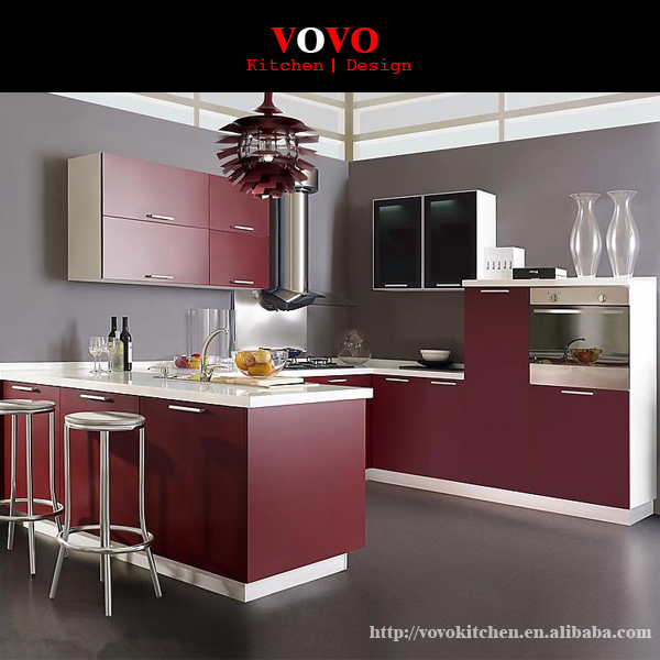 Newest Design High Quality Lacquer Kitchen Cabinets Red