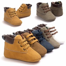 Unique Cross-tied Non-slip Baby Shoes Frosted Soft Sole Sneaker Man-made Leather Newborn Infant First Walkers