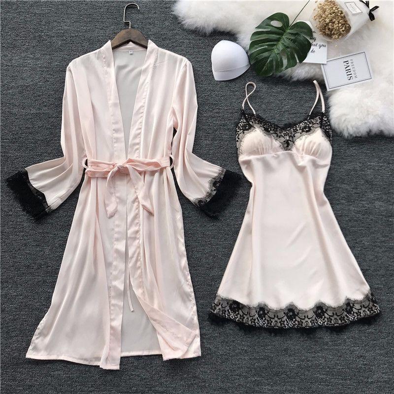 Image 3 - QWEEK Women Silk Robe Gown Set Summer Sexy Lace Women Sleepwear Dress Elegant Woman Pajamas Casual Bathrobe Sets-in Robe & Gown Sets from Underwear & Sleepwears