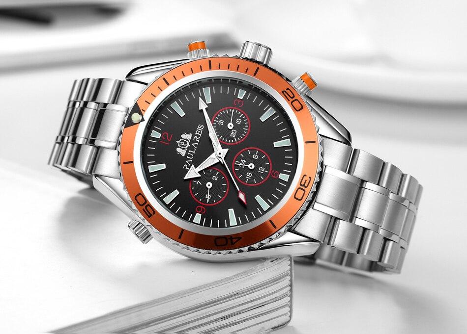 HTB1FuD9invI8KJjSspjq6AgjXXa5 Men Automatic Self Wind Mechanical Stainless Steel Strap James Bond 007 Style Orange Blue Black Dial Bezel Classic Watch
