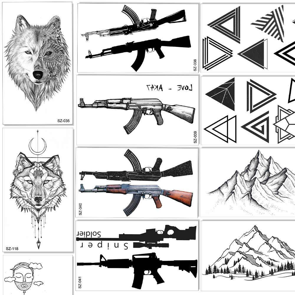 AK AKM M4 بندقية الأسلحة المؤقتة الوشم للأطفال الأطفال الذراع وهمية الوشم ملصق ورقة النساء الرجال قناص سلاح الوشم الذئب