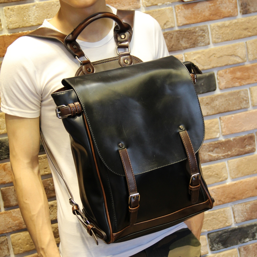 Fashion Design Crazy Horse PU Leather Men's Backpack Youth School Bags for Teenagers Male Travel Backpacks Casual Laptop Bag