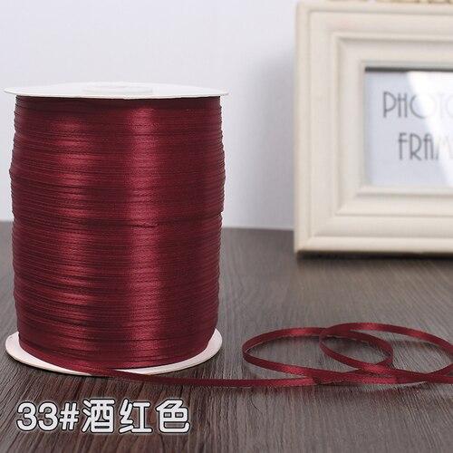 3 мм ширина бордовые атласные ленты 22 метра швейная ткань подарочная упаковка «сделай сам» ленты для свадебного украшения - Цвет: Wine Red