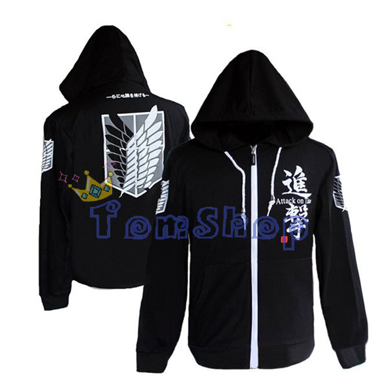 Attack On Titan Survey Legion Black Hooded Sweatshirt Long Sleeve Cosplay Hoodie Coat Jacket Casual Sweatshirts Free Shipping