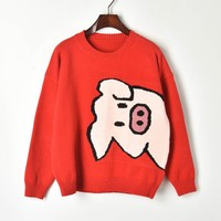 Red Sweater Cute Piggy Jacquard Knit Women Sweater 2019 Spring Long Sleeve O neck Knit Top Female Causal Sweaters and Pullovers