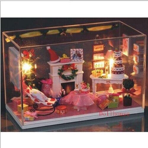 DIY Dollhouse Merry Christmas Eve Xmas Living Room Miniatures LED Furniture Kit