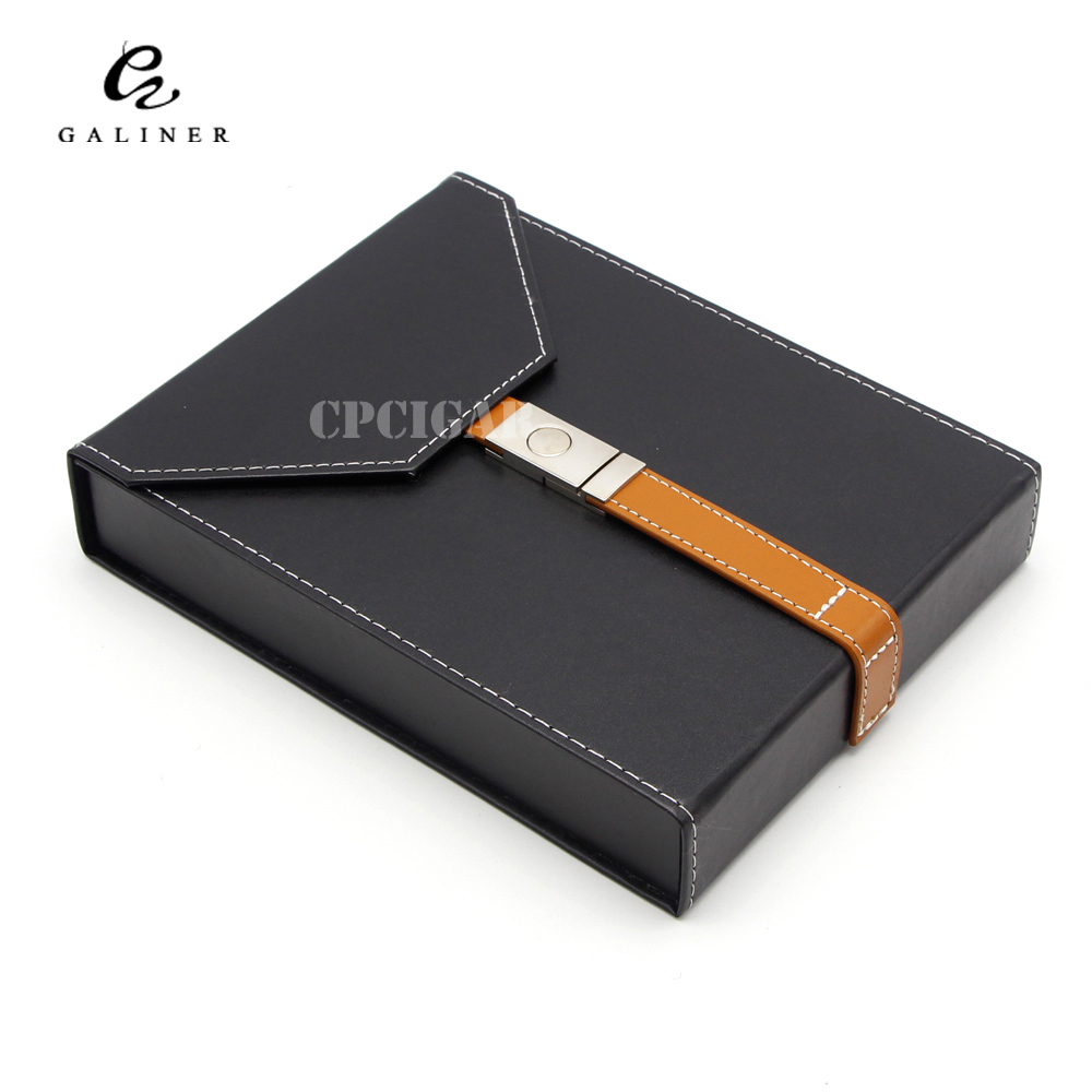 GALINER Portable Black Genuine Leather Cigar Case Humidor Holds 8 pcs Cigars with Cigars Humidifier