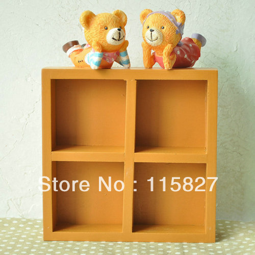 Min order$20(mixed items)2pcs/lot wooden desk organization 4blocks wooden storage tray w ...