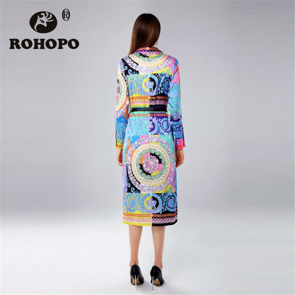 Femmes Mode Bouton Dressshirt Robe Longue Unique Rétro Femelle Du Robes Vintage Multi Sein Manches Piste Soie Respirant Rohopo Longues QrstCxBhd