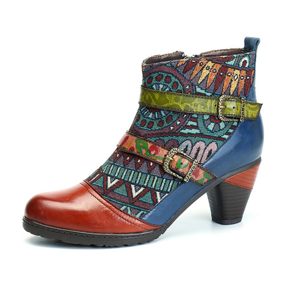 D Knight Brand Plus Size Women Ankle Boots Vintage Patchwork Female Short Boots Fashion Side Zip Print Buckle Lady Shoes Booties (13)