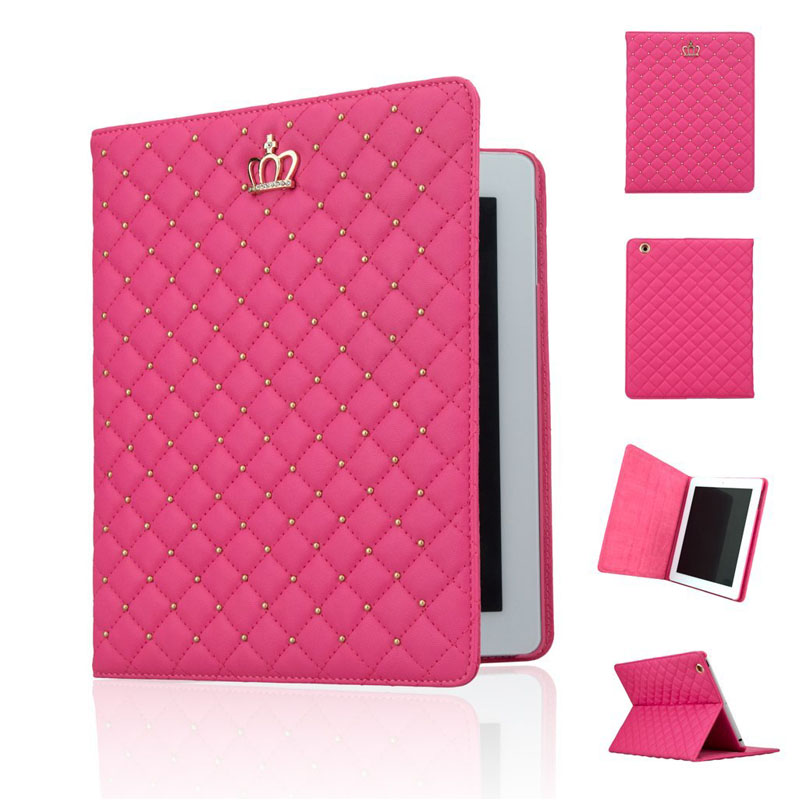 Fashion Girl Crown PU Leather Case Cover Flip Stand Case for iPad 2 For Apple iPad 4 iPad 3 Protective Case