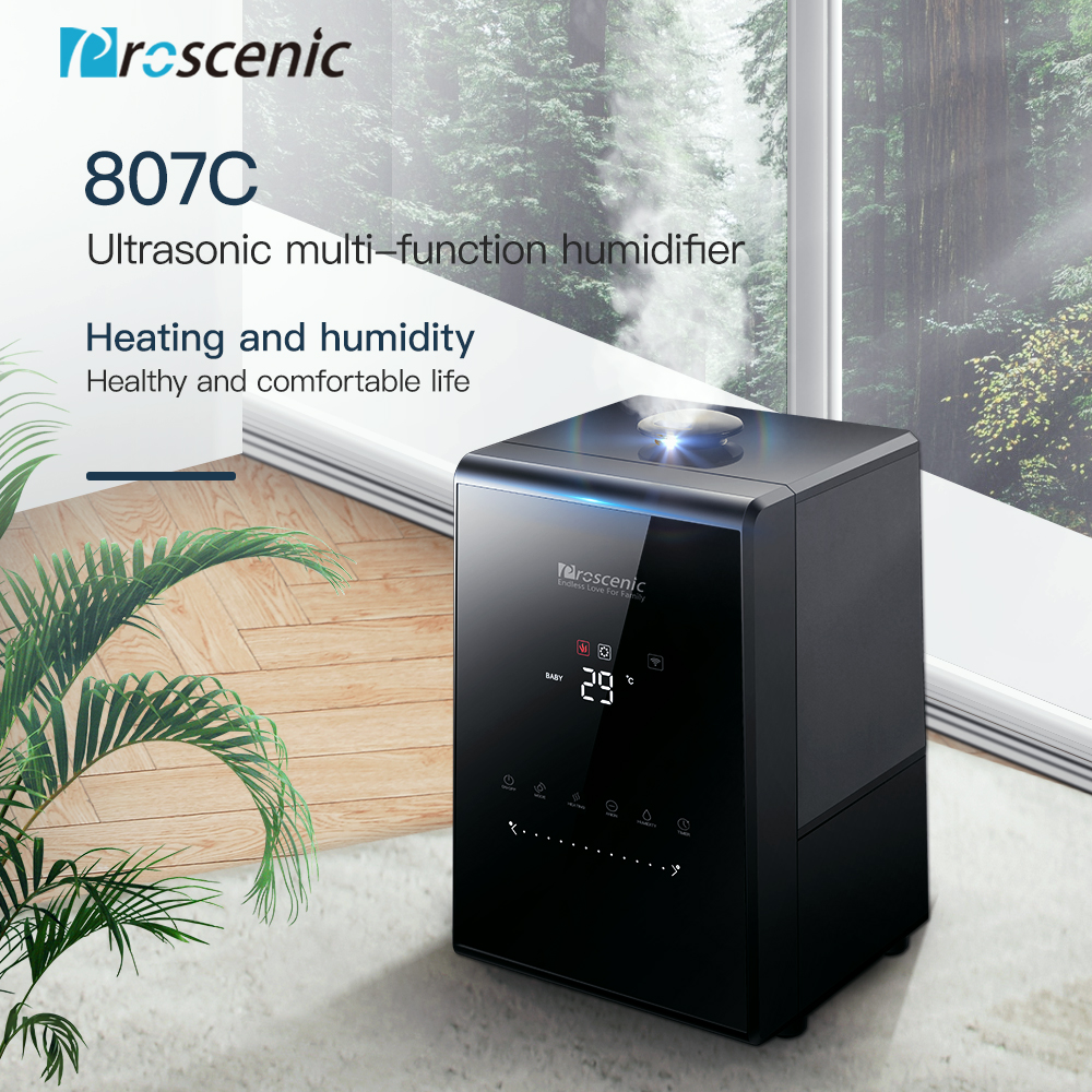 Proscenic 807c ultra-sônico umidificador 5.5l vaporizador névoa quente e fria umidificador de ar app e alexa controle silencioso personalizado