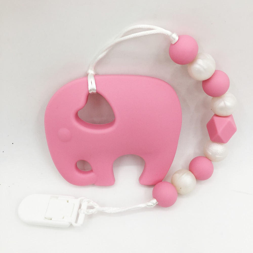 Toys For Teething : Large elephant pacifier clips silicone teething toys cute
