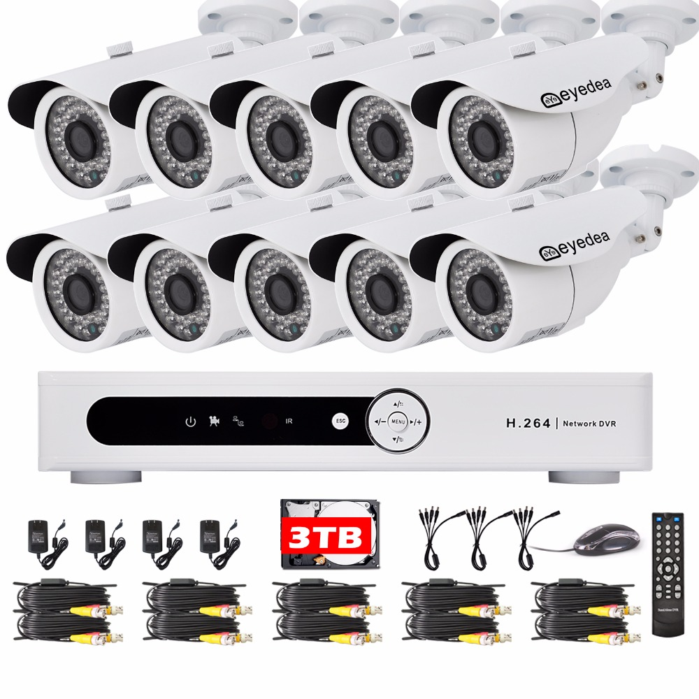 Eyedea 16CH DVR Voideo Recorder 1080P 5500TVL Outdoor LED Night Vision Business CCTV Security Camera Surveillance System 3TB HDD  16ch video camera recorder dvr with 16pcs outdoor waterproof ir day night vision surveillance camera 16ch security sytem dvr kit