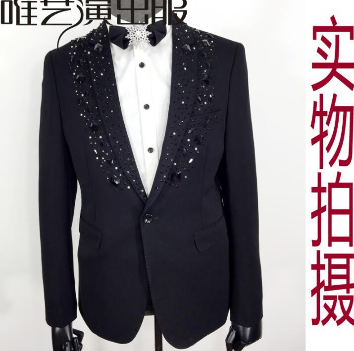 Black Clothes Men Suits Designs Masculino Homme Stage Costumes For Singers Jacket Men Sequins Blazer Dance Star Style Dress