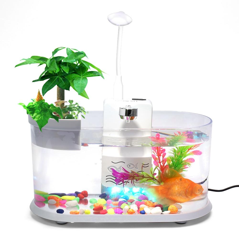 Multifonction Mini Aquarium Led créatif aménagement paysager de bureau Aquarium réservoir de poisson Circulation écologique en plastique petit Aquarium