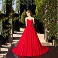 A line vestidos de noite vermelho longo rendas 2017 querida aberto para trás Sexy Cintas de Espaguete Vestido de Festa Robe de soirée Robe De soirée Rouge