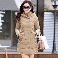 Зимняя Куртка Пальто Женщин 2016 Новая Зимняя Куртка Верхняя Одежда Женщин длинный Тонкий Утолщение С капюшоном Вниз Ватные куртки Красный D108