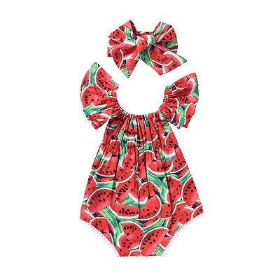Das Beste 2017 Nette Neugeborene Baby Mädchen Wassermelone Sommer Sleeveless Baumwolle Bodysuitoverall Outfits Overall 100% Original