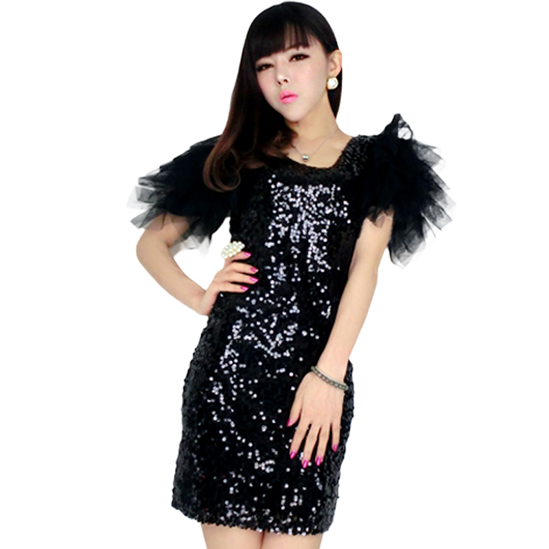 Buy Cheap Most Popular Special Design 2016 Woman Clothing Fashion Elegant Special Occasion Silver short Sleeve Sequined Bodycon Dress