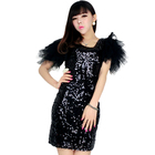 Save 0.82 on Most Popular Special Design 2016 Woman Clothing Fashion Elegant Special Occasion Silver short Sleeve Sequined Bodycon Dress